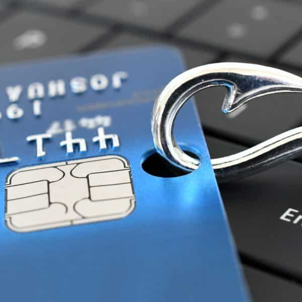 phishing scam hook with credit card